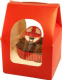 Single Peaked Top Red Cupcake/Muffin Box